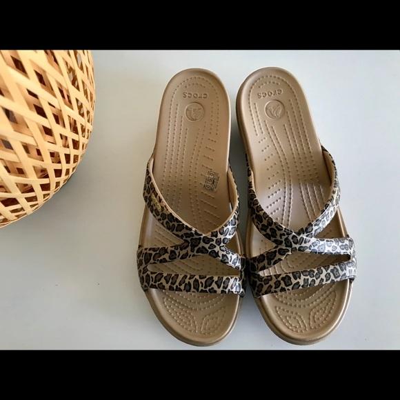 6d36036aa8aa CROCS Shoes - CROCS Patricia Leopard Print Wedge Sandal